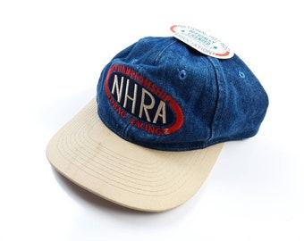 NHRA Drag Racing Championship Deadstock Vintage 90s Denim Snapback Hat 470dff39932