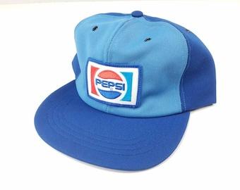 cc74db1517b Pepsi Cola Patch Logo Snapback Trucker Hat Made In USA Rare FREE Shipping  Distributor Riverside Advertising