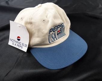 6dcb56598ae Pepsi USA Strapback Dad Hat Adjustable Baseball Cap Deadstock Vintage 90s  FREE Shipping Soda Cola Coke