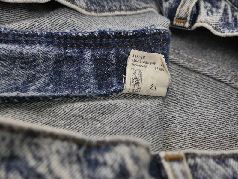 Lee Rider High Waisted Acid Wash Denim Jeans Size 18 Medium Vintage 80s Made In USA