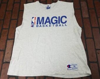 Orlando Magic Champion Tank Top Sleeveless T Shirt Vintage 90s Made In USA FREE Shipping NBA Basketball