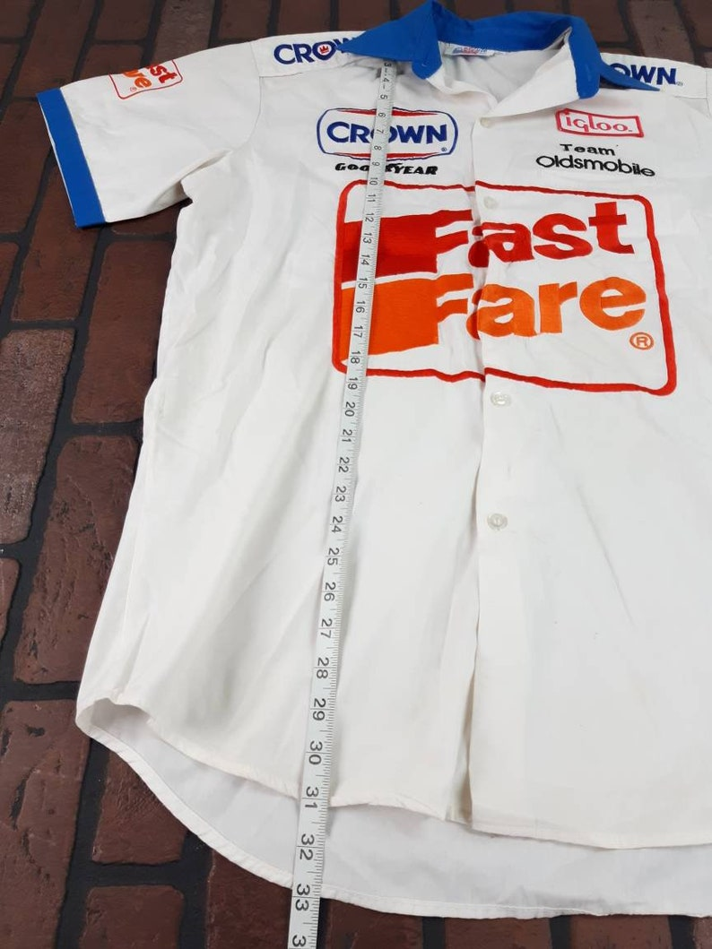 Fast Fare Oldsmobile Racing Button Front Jersey Shirt Exquisite Made In USA Vintage 90s FREE Shipping