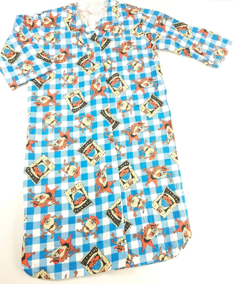 Tazmanian Devil All Over Print Mens Large Night Gown Robe Sleep Wear Vintage 90s Warner Brother FREE Shipping