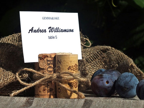 Party Wine Event 50 Handmade Champagne Cork Place Card Holders for Wedding