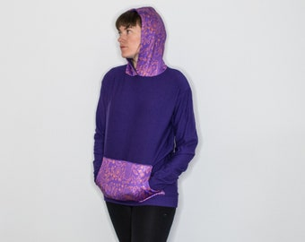 Cact-eye Print Purple Bamboo Cotton Fleece Hoody