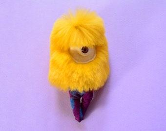 Yellow Fuzzy Necklace