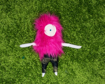 Pink Fuzzy Buddy With Black/Gold Pants