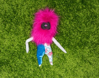 Pink Fuzzy Buddy With Blue Pants