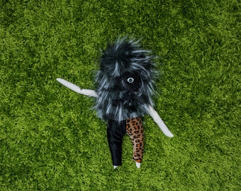 Black Fuzzy Buddy with Leopard Print Pants