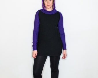Purple/Black Bamboo Fleece Hoody with Cact-Eye Liner