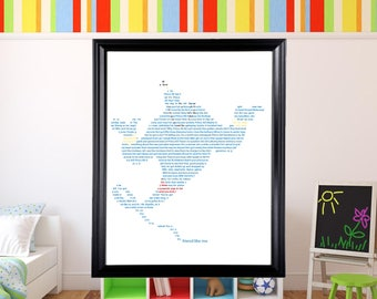 Disney Genie in Text Wall Art | Disney Art | Text Art | Aladdin | Robin Williams |