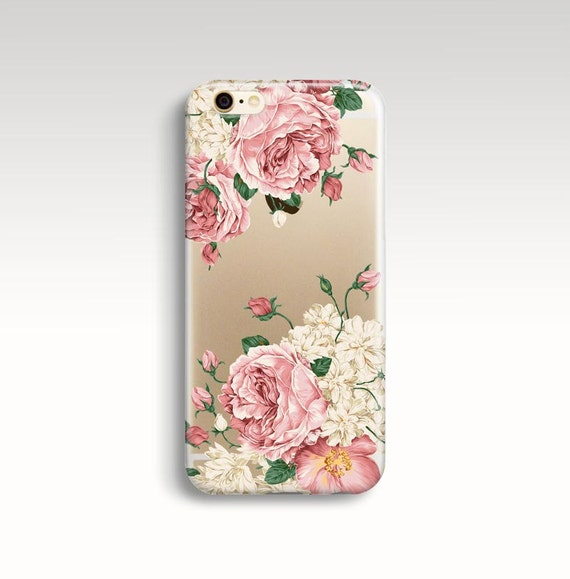 Iphone 7 Plus Case Roses Iphone 6s Case Clear Rubber Iphone Etsy