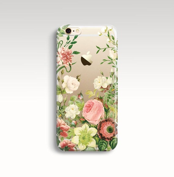 Iphone 7 Plus Case Floral Iphone 6s Case Clear Rubber Iphone Etsy