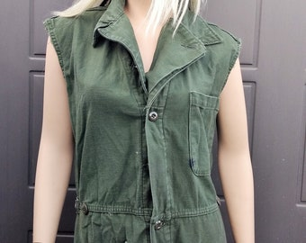 f0874f8734ac Green Coveralls Jumpsuit Vintage 80 s