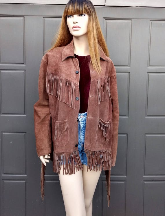60's 70's Brown Suede leather Fringe Jacket Coat