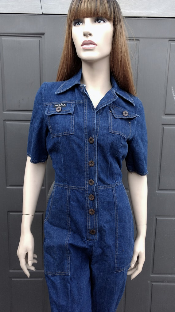 Denim Jumpsuit jumper  Vintage 70's Sz  Small