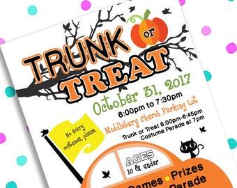 trunk or treat flyer etsy