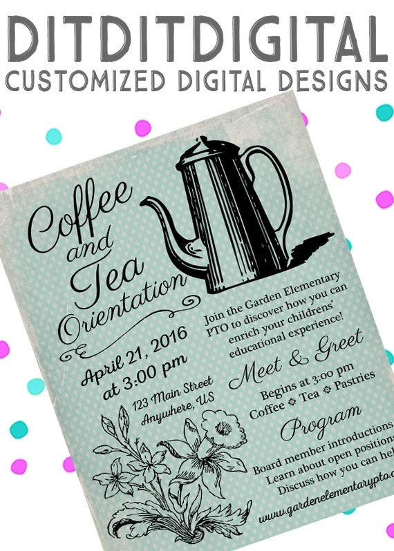 Vintage Meet Greet Coffee Pto Meeting Pta Meeting 5x7 Invite