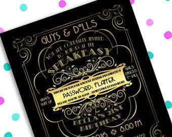 Great Gatsby Party ~ SPEAKEASY ~ Prohibition ~ 5x7 Invitation ~ 8.5x11 Flyer ~ 11x14 Poster ~ 300 dpi Digital Invitation