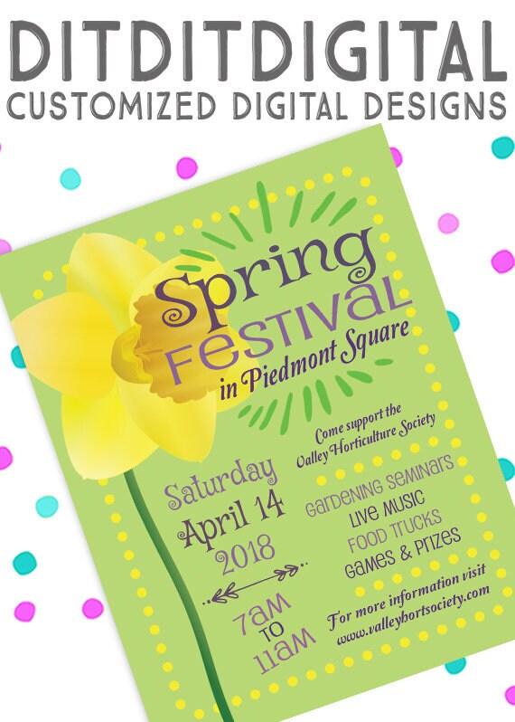 Spring Festival ~ Spring Craft Fair ~ 5x7 Invite ~ 8 5x11 Flyer ~ 11x14  Poster ~ 300 dpi Digital Invitation