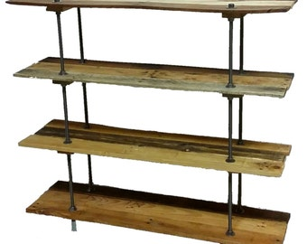 Vintage Reclaimed Wood Pallet 4 Shelf Bookcase Or Bookshelf Industrial Style With Adjustable Legs