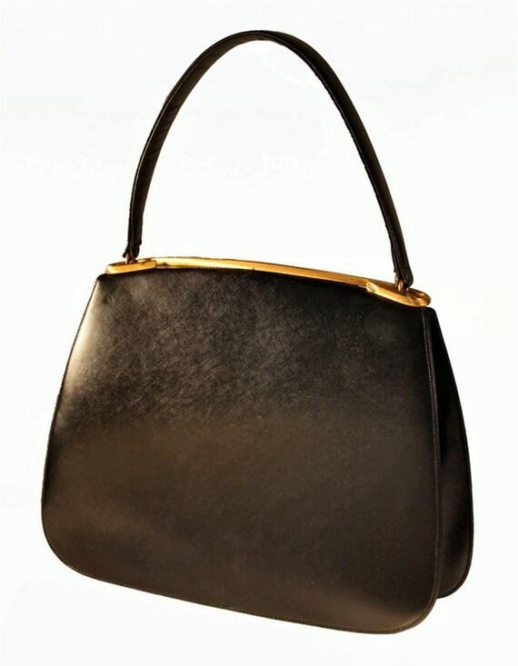 Dorian Textured Black Leather Bag