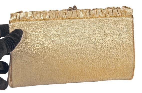 Harry Levine USA Ruffled Gold Lame Evening Clutch