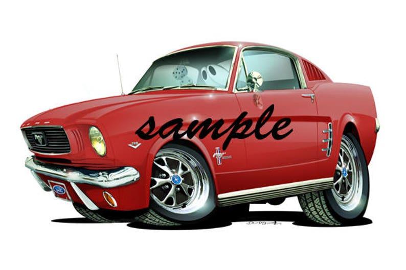 90de9741 1966 Ford Mustang Fastback Replica Cartoon T-shirt 61216 | Etsy