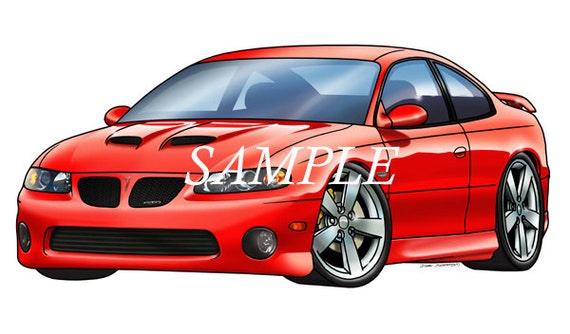 Pontiac Gto Muscle Car Cartoon T Shirt 0600 Replica Etsy