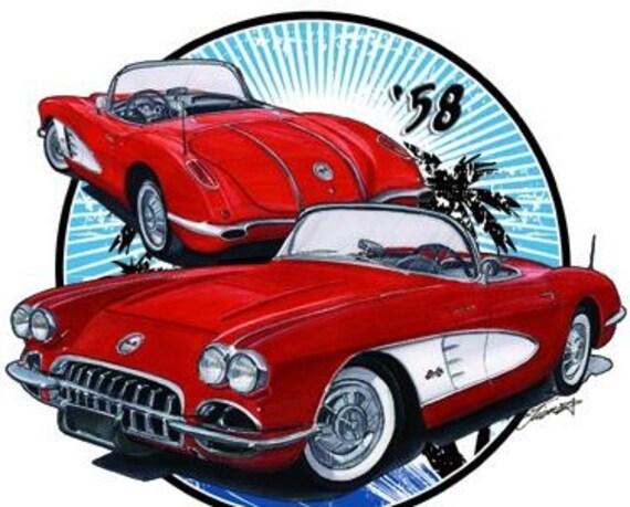1958 Chevy Corvette Muscle Car Cartoon T Shirt 4701r Etsy