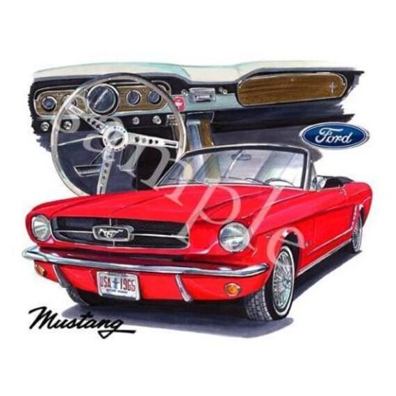 7070 Art Convertible Automobile Mens Shirt Mustang 1965 Cartoon T Ford TlK1uc3JF
