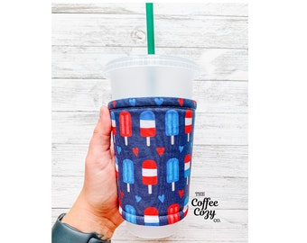 ICED Coffee Cozy| Coffee Sleeve| Reusable Coffee Sleeve, 4th of July, Independence Day, Summer