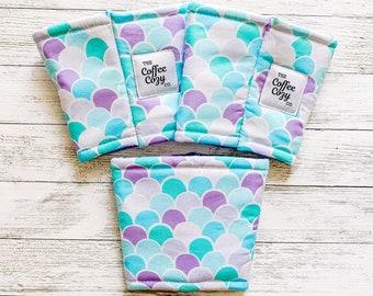 Iced Coffee Cozy  Coffee Sleeve  Reusable Coffee Sleeve   Boho Mermaid, Pink, Purple, Blue, Mint