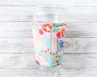 Iced Coffee Cozy   Floral, Pink, Blush - Iced Coffee Sleeve  Reusable Coffee Sleeve  Coffee Gift  Gift Under 15  Coffee Cup