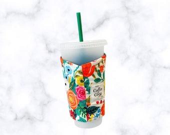 ICED Coffee Cozy| Coffee Sleeve| Reusable Coffee Sleeve|Coffee Gift| Rifle Paper Co Fabric
