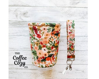 Iced Coffee Cozy + Keychain Wristlet Combo, Blue Pink Floral Coffee Sleeve, Gift Idea, Gifts for her,