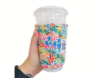 ICED Coffee Cozy  Coffee Sleeve  Reusable Coffee Sleeve Coffee Gift  Rifle Paper Co Fabric English Garden Meadow