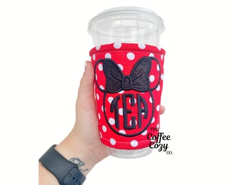 Red and White Polkadot Mouse Bow Cozy, Coffee Cozy, Iced Coffee Cozy, Coffee Lover, Glitter, Monogram