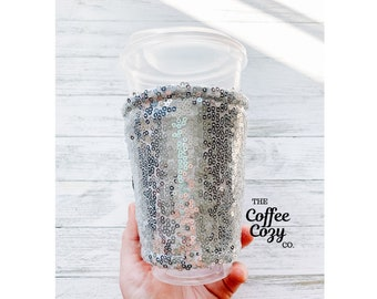 Iced Coffee Cozy  Coffee Sleeve  Reusable Coffee Sleeve   Coffee Cup   Sparkle, Glitter, Bridesmaid Gift, Bridal Party