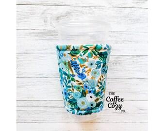 ICED Coffee Cozy  Coffee Sleeve  Reusable Coffee Sleeve Coffee Gift  Rifle Paper Co Fabric