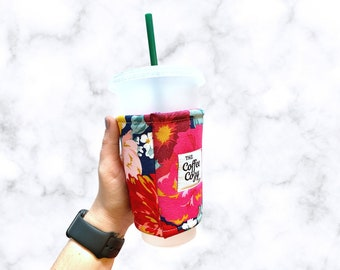Iced Coffee Cozy| Iced Coffee Sleeve| Reusable Coffee Sleeve| Coffee Gift| Gift Under 15|Fall Floral, Pink Yellow Blue