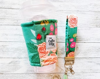 Iced Coffee Cozy + Keychain Wristlet Combo, Floral Coffee Sleeve, Gift Idea, Gifts for her, Green Floral