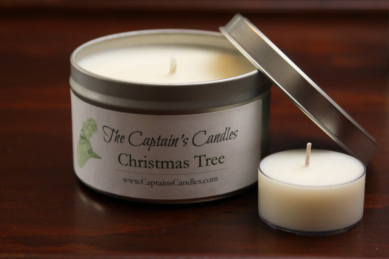 Christmas Tree Scented Candle Tin  Pine Forest Candle  image 0
