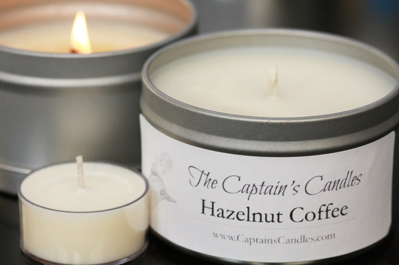 Hazelnut Coffee Scented Candle  100% All Natural Soy Candles image 0
