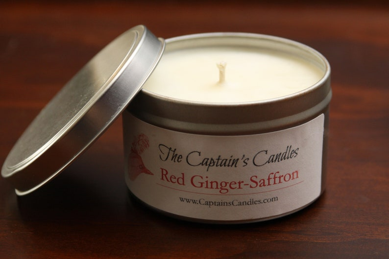 Red Ginger Saffron Scented Soy Candle Travel Tin Vegan All image 0