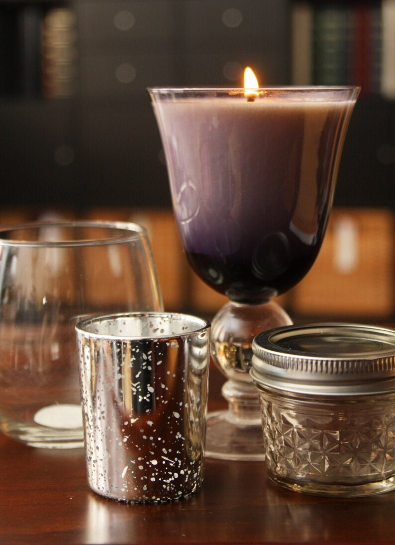 Upcycled Goblet Drinking Glass Container Candles  100% image 0
