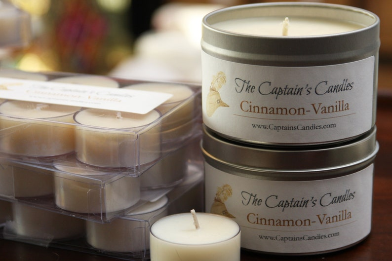 Cinnamon Vanilla Scented Candle Tin  Cookie Candle  Holiday image 0
