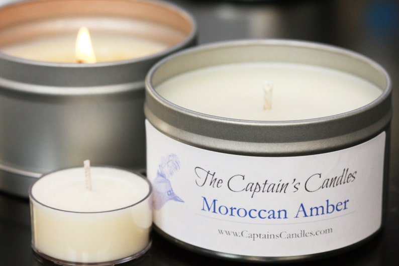 Moroccan Amber Scented Soy Candle Gift Tin Sensual Exotic image 0