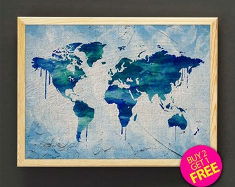 Linen world map etsy world map watercolor art print travel map art poster gifts idea home wall decor gift linen print free shipping 419s2g gumiabroncs Choice Image