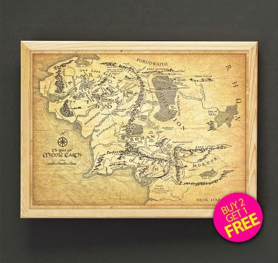 A3 el mapa de Tierra Media El Señor De Los Anillos Poster De Pared En Casa Impresión de Arte Decoración
